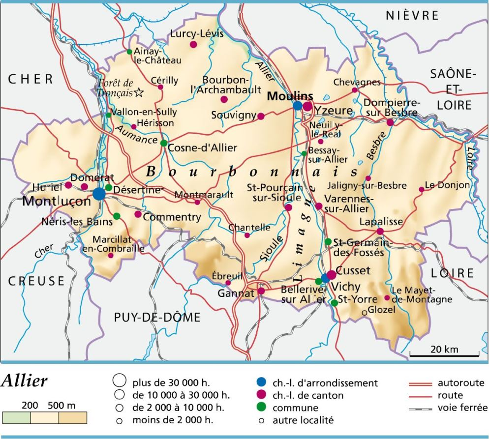 carte plan et itin raire d partement allier 03
