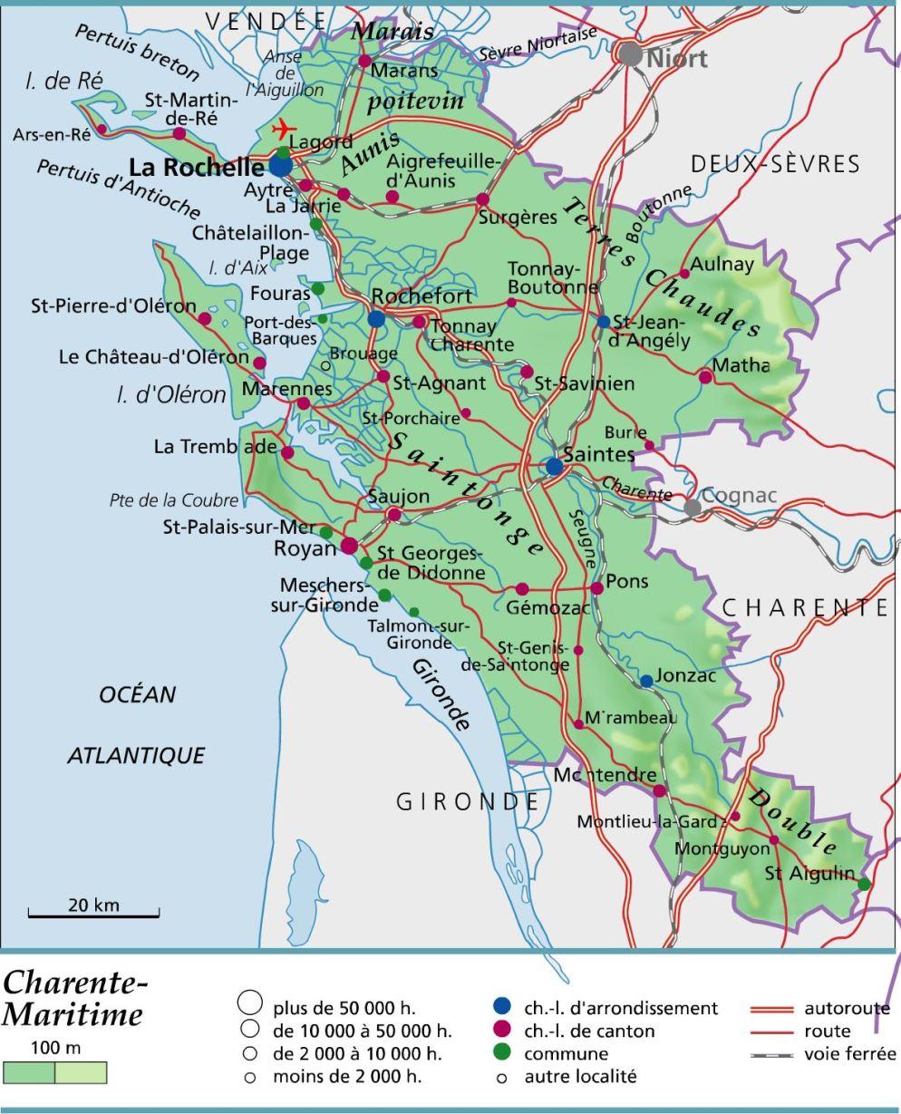 Carte plan et itin raire d partement charente maritime 17 - Office du tourisme de royan charente maritime ...