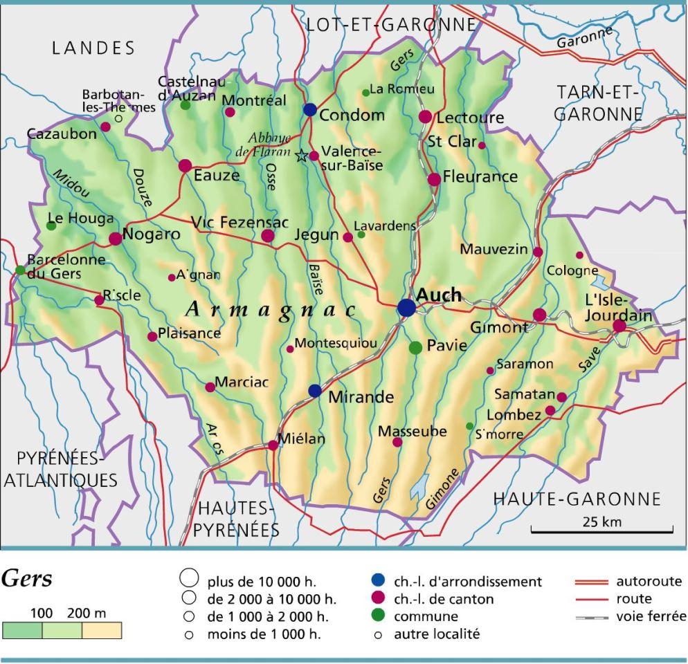 Carte d partement du gers arts et voyages for Region du 59