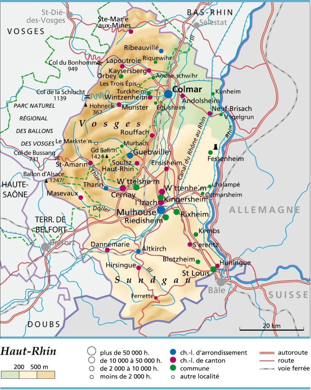 Carte Alsace Ensisheim.Carte Plan Et Itineraire Departement Haut Rhin 68