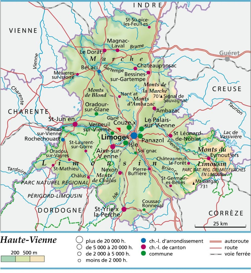 Carte plan et itin raire d partement haute vienne 87 for 87 haute vienne carte