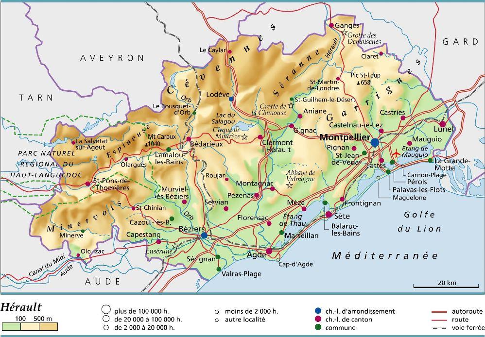 Detaille Carte Herault.Carte Plan Et Itineraire Departement Herault 34