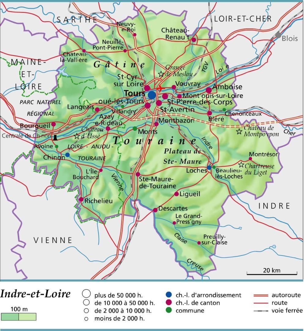 carte et plan du département de l'INDRE-ET-LOIRE