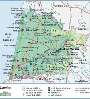 département des landes carte Carte, plan et itinéraire département Landes 40