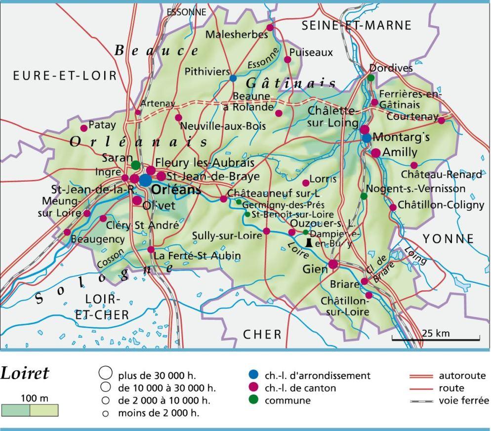 45 loiret plan for Region loiret