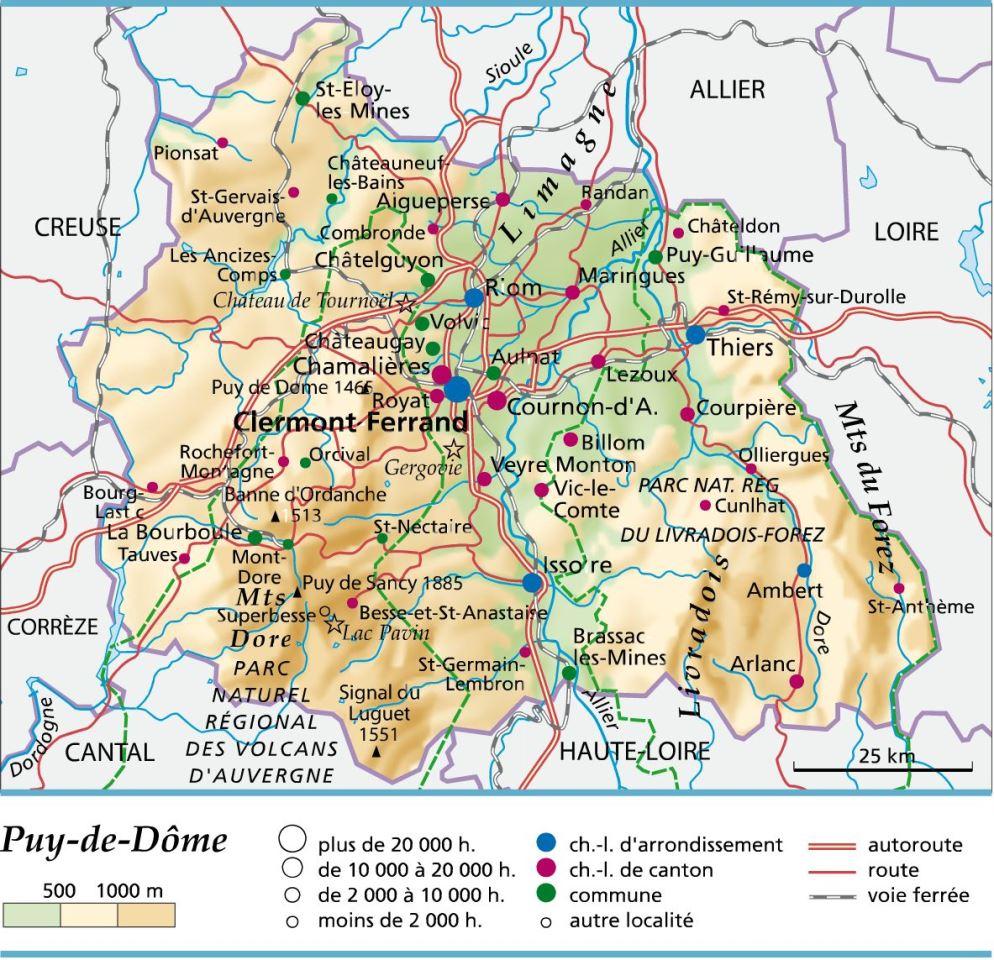 Carte Plan Et Itinéraire Département Puy De Dôme 63