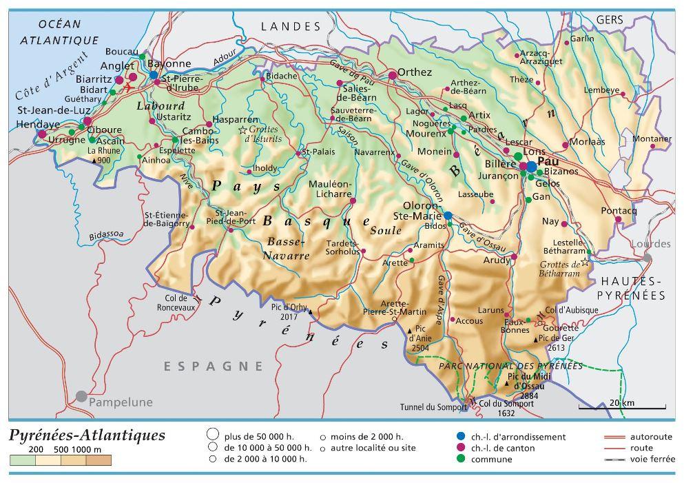 Carte Plan Et Itineraire Departement Pyrenees Atlantiques 64