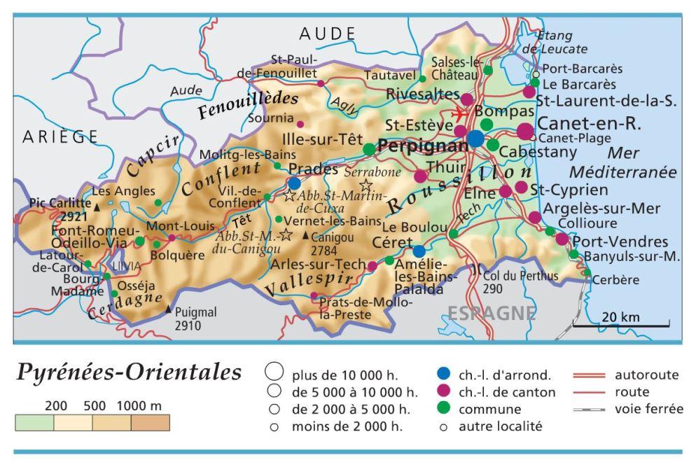 carte des pyrenees orientales