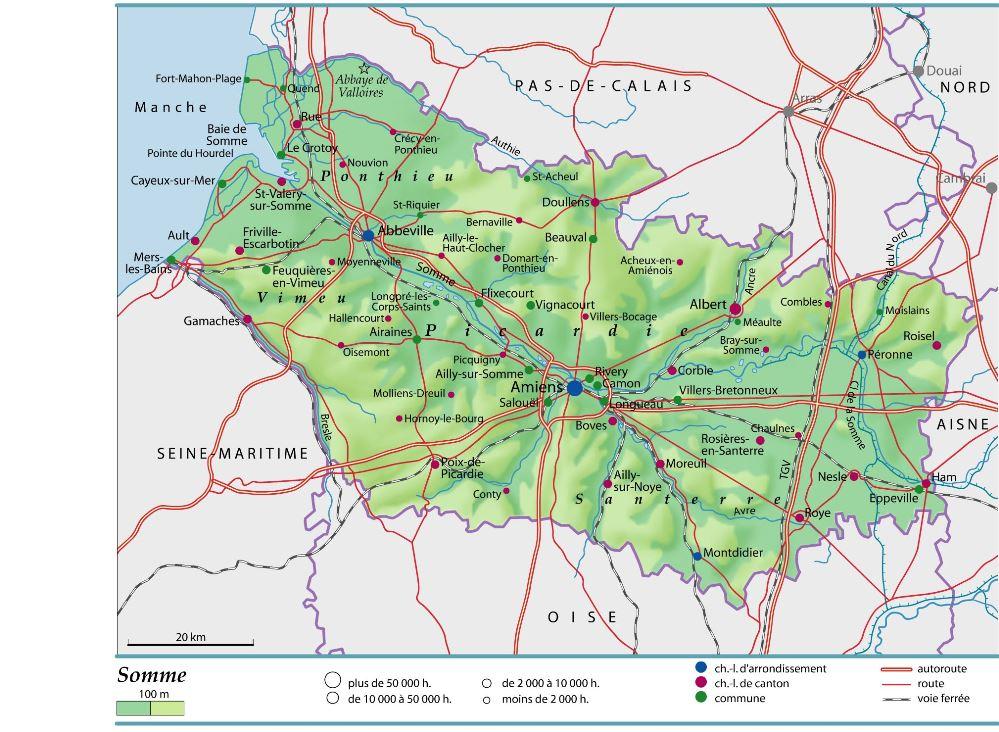 carte et plan du département de la SOMME